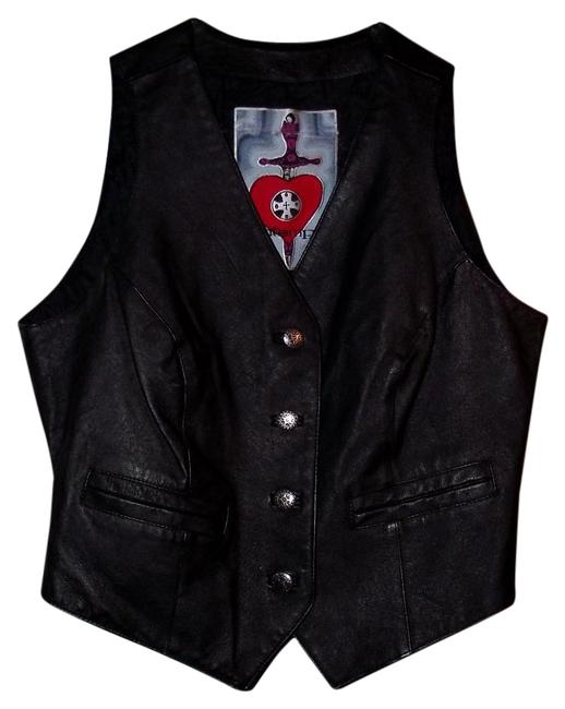 Item - Black Casual Leather Vest Small Western 90s Hipster Festival Trendy Button-down Top Size 6 (S)