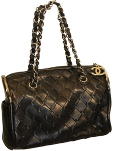 Chanel Classic Woven Lambskin Satchel in Black
