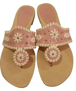 AK Anne Klein Pink and White with silver stud embellishment Sandals