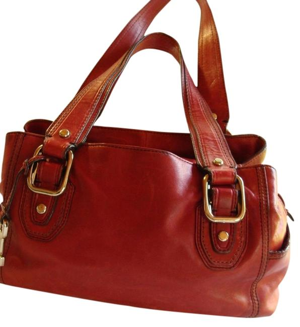 Item - Reduced with Side Pockets & Stitching Detail Reduced Juicy Red Tomato Leather Red Satchel