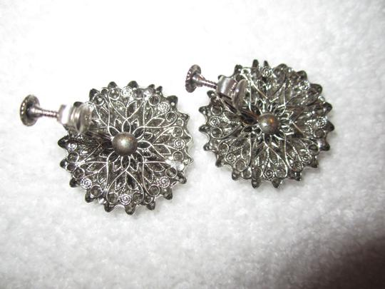 Miriam Haskell Vintage LARGE ORNATE SCREW CLIP SILVER TONE EARRINGS SIGNED --SUPERB! Image 4