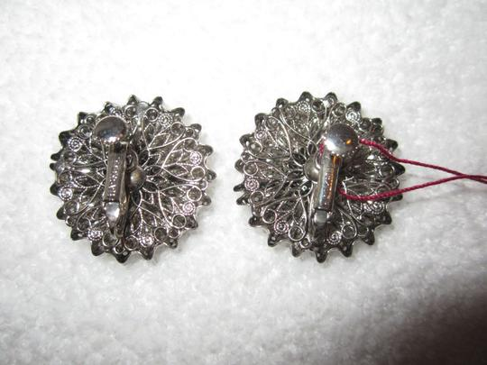 Miriam Haskell Vintage LARGE ORNATE SCREW CLIP SILVER TONE EARRINGS SIGNED --SUPERB! Image 5