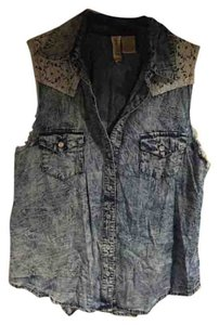 Mimi Chica Vest Denim Distressed Lace Collar Button Down Shirt Blue