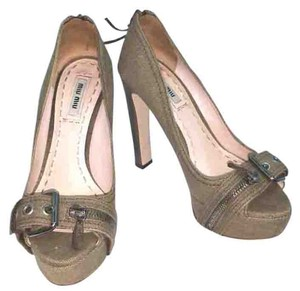 Miu Miu Taupe Denim Heels Pumps