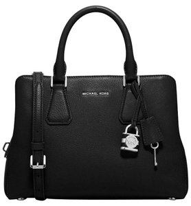 Michael Kors Camille Medium Pebbled Leather Satchel in Black / Silver