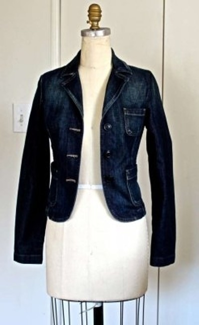 United Colors of Benetton Lady's Jean Size 6 Tie Waist Four Front Dark Blue Jacket