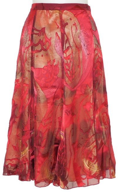 Item - Red & Gold Paisley Burnout Silk Skirt Size 10 (M, 31)