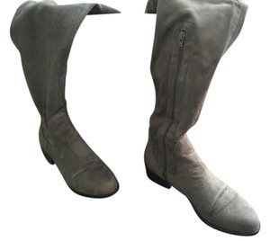 Forever 21 Faux-suede Thigh High Flat Heel Grey Boots