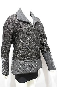 Chanel Women Silver Sparkling Military Jacket