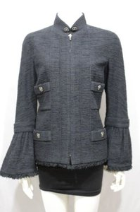 Chanel Cocktail Bell Silk Neck Military Jacket
