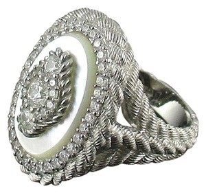 Judith Ripka Judith Ripka Sterling Diamonique and Mother-of-Pearl Textured Ring - Size 7