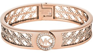 Michael Kors Michael Kors MKJ4147 MK Logo Crystals Rose Gold tone Bangle Bracelet