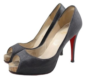 Christian Louboutin Coated Canvas Shiny Black Pumps