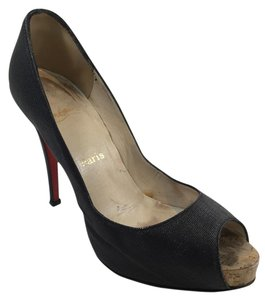 Christian Louboutin Coated Canvas Shiny Cork Black Pumps