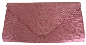 Tiffany & Fred Pink Alligator Embosed Leather Clutch