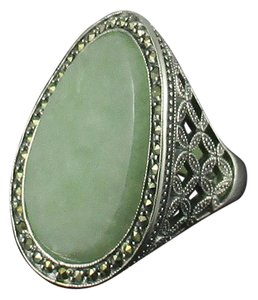 Dallas Prince Designs Dallas Prince Designs Green Jade and Marcasite Sterling Silver Oval Ring - Size 7