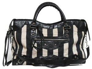 Balenciaga City Striped Damasse Shoulder Bag