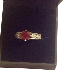 Red sunstone 14kt white gold ring with dia. 14kt Wtgold /dia.Red Anesine Ring
