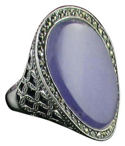 Dallas Prince Designs Dallas Prince Designs Lavender Jade and Marcasite Sterling Silver Oval Ring - Size 9