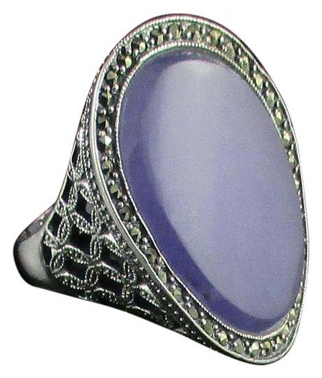 Preload https://img-static.tradesy.com/item/15738124/lavender-jade-and-marcasite-sterling-silver-oval-size-9-ring-0-1-540-540.jpg