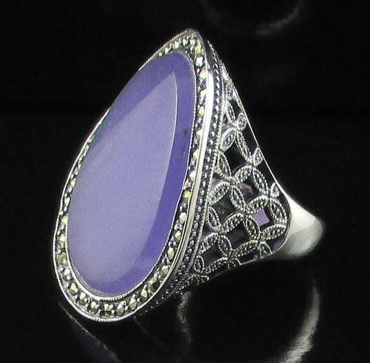 Dallas Prince Designs Dallas Prince Designs Lavender Jade and Marcasite Sterling Silver Oval Ring - Size 9 Image 1