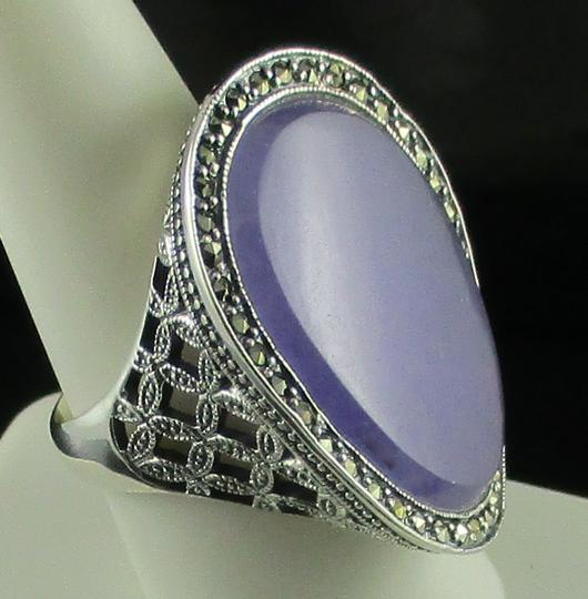 Dallas Prince Designs Dallas Prince Designs Lavender Jade and Marcasite Sterling Silver Oval Ring - Size 9 Image 2