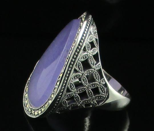 Dallas Prince Designs Dallas Prince Designs Lavender Jade and Marcasite Sterling Silver Oval Ring - Size 9 Image 3