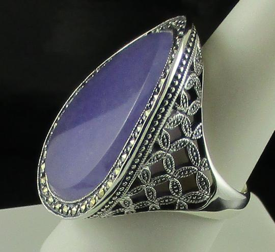 Dallas Prince Designs Dallas Prince Designs Lavender Jade and Marcasite Sterling Silver Oval Ring - Size 9 Image 4