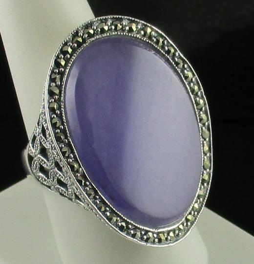 Dallas Prince Designs Dallas Prince Designs Lavender Jade and Marcasite Sterling Silver Oval Ring - Size 9 Image 5