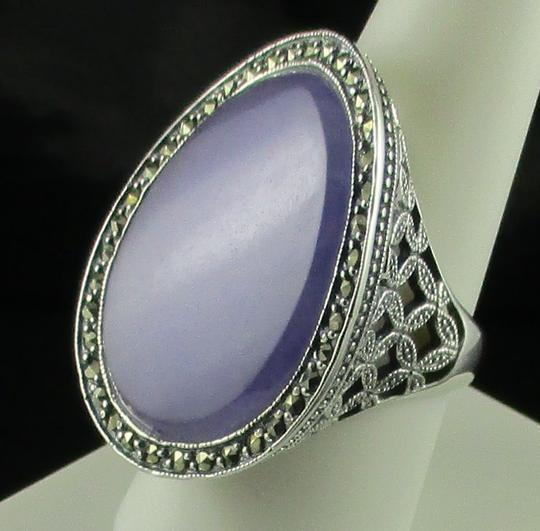 Dallas Prince Designs Dallas Prince Designs Lavender Jade and Marcasite Sterling Silver Oval Ring - Size 9 Image 7