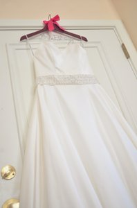 David's Bridal Strapless Satin A-line With Beaded Waistband Style Wg3389 Wedding Dress