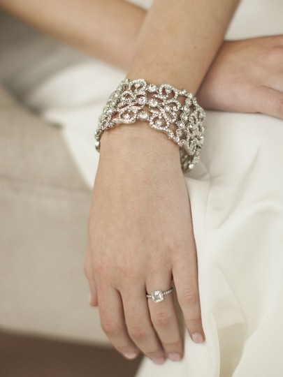 Mariell Vintage Couture Crystal Wedding Cuff Bracelet