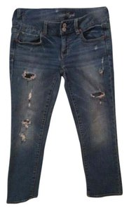American Eagle Outfitters Distressed Capri/Cropped Denim-Distressed