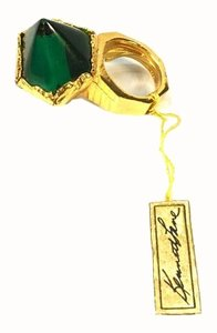 Kenneth Jay Lane Kenneth Lane Cocktail Emerald Crystal and Gold Adjustable Ring
