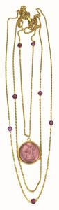 Goldette Vintage Goldette Intaglio 3 Tiered Gold Necklace with Amethyst Crystal Details and Grecian Pendant