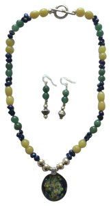 Other Handmade Jade and Freshwater Pearl necklace with glass pendant