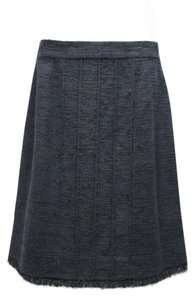Chanel Women A Line Blue Classic Skirt Black