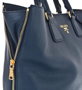 Prada Vitello Phenix Tote in Blue