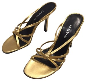 bebe Stiletto Summer Sandals Gold Metallic Mules