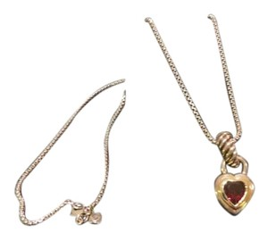 David Yurman Waverly 7mm SS/14k Garnet Heart Enhancer - 17