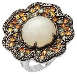 Sima K Sima K 11.69ct Moonstone and Sapphire Sterling Silver Floral Ring - Size 7