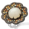 Sima K Moonstone/Sapphires 11.69ct and Sterling Floral Ring Sima K Moonstone/Sapphires 11.69ct and Sterling Floral Ring Image 2