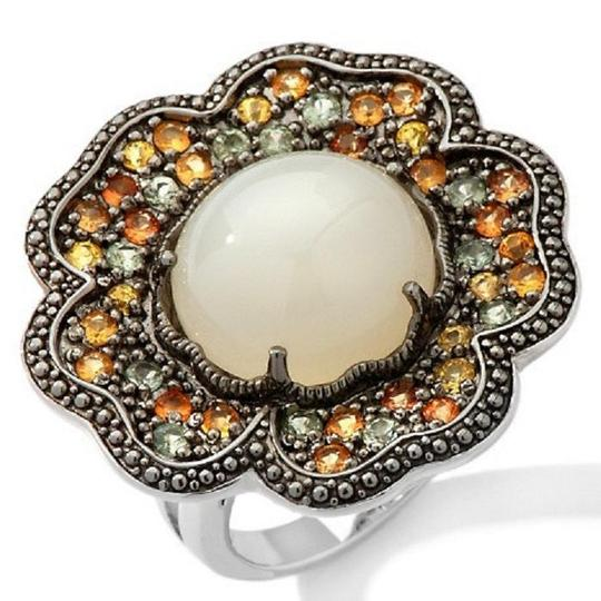 Sima K Sima K 11.69ct Moonstone and Sapphire Sterling Floral Ring Image 1
