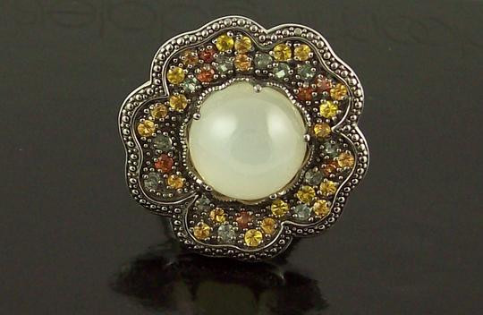 Sima K Sima K 11.69ct Moonstone and Sapphire Sterling Floral Ring Image 2