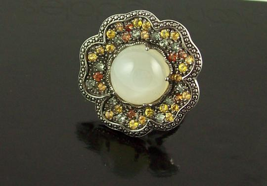 Sima K Sima K 11.69ct Moonstone and Sapphire Sterling Floral Ring Image 3