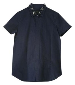 J.Crew Embellished Button Down Shirt Navy