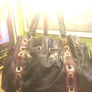 Kate Landry Satchel in black and purple