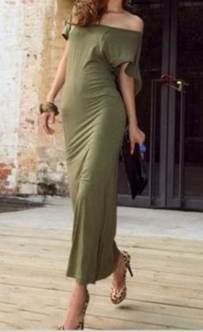 Army Green Maxi Dress by Unknown Long Backless