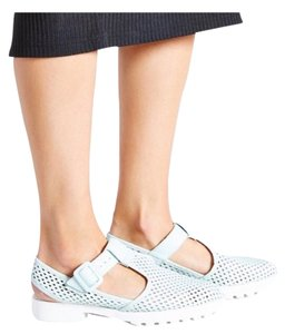 Miista Perforated Leather Platform Mint Sandals