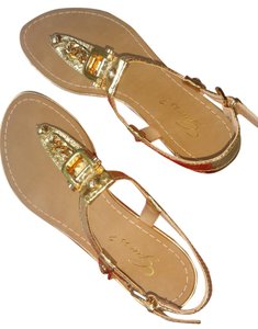 Guess Chain Detail Size 7.5 Ladies Gold Tone Sandals